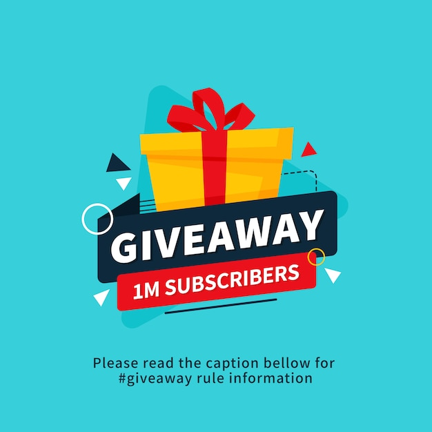 Giveaway 1m subscribers poster template design for social media post or website banner. Premium Vector