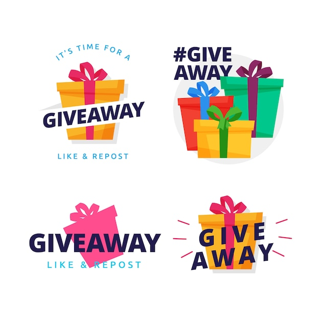 Giveaway badge gift box illustration vector design collection Premium Vector