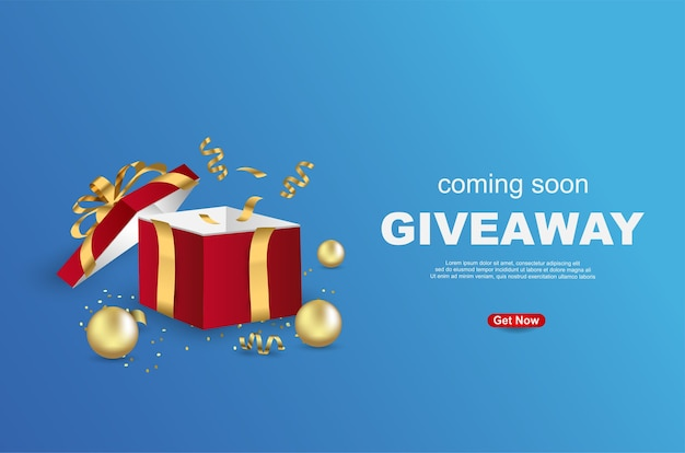 Giveaway banner template design with open gift box on blue background. Premium Vector