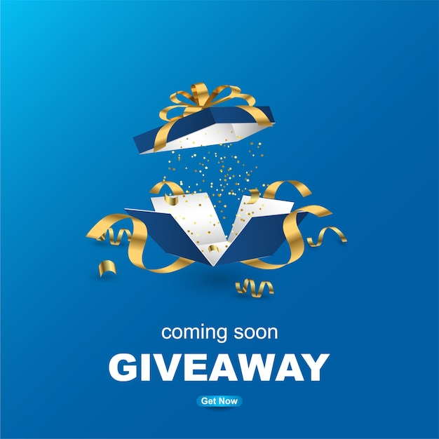 Giveaway banner template design with realistic gift box. Premium Vector