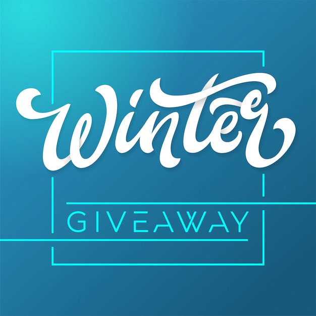 Giveaway banner for winter contests in social media.  template for banner, poster, flyer, ad, print . brush lettering on dark blue background.  illustration. Premium Vector