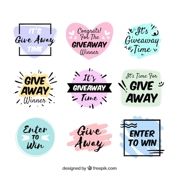 Giveaway lettering collection for contests Free Vector