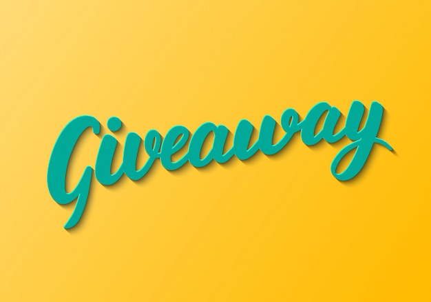 Giveaway lettering on orange background. Premium Vector
