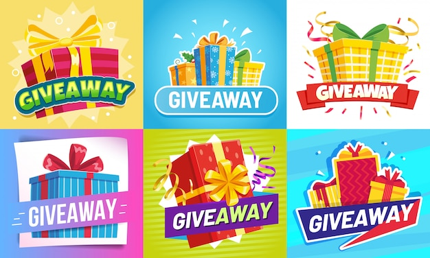 Giveaway post. give away gifts, winner reward and gift prize draw social media posts  illustration set Premium Vector