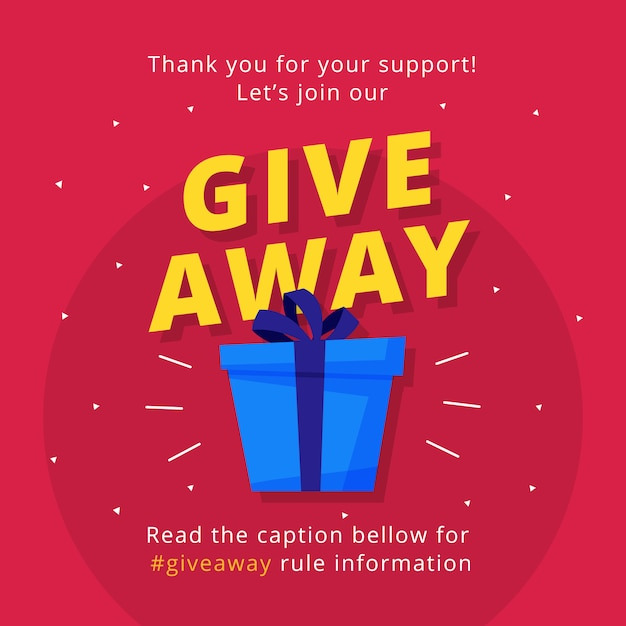 Giveaway Poster Template Design For Social Media Post Or
