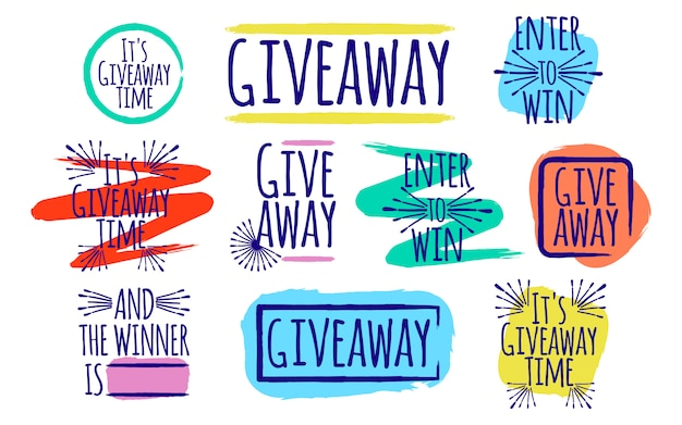 Giveaway set of lettering Premium Vector