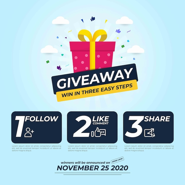 Giveaway for social media post with three steps to win Premium Vector