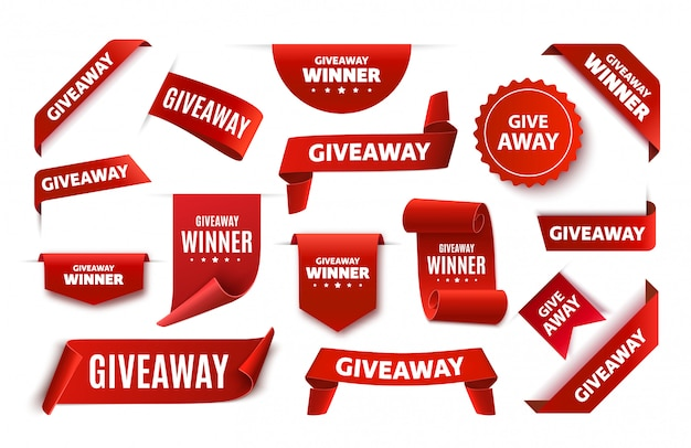 Giveaway tags or labels for social media post. red announcement 3d banners. giveaway contest ribbons. Premium Vector