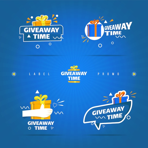 Giveaway time label on collection set Premium Vector