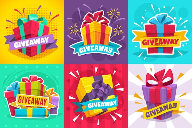 Giveaway winner poster gift offer banner giveaways post and winner reward Premium Vector