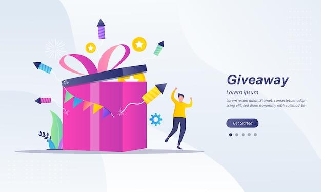Giveaway winner for social media posting Premium Vector