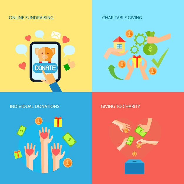 Giving hands 4 flat icons square banner Free Vector