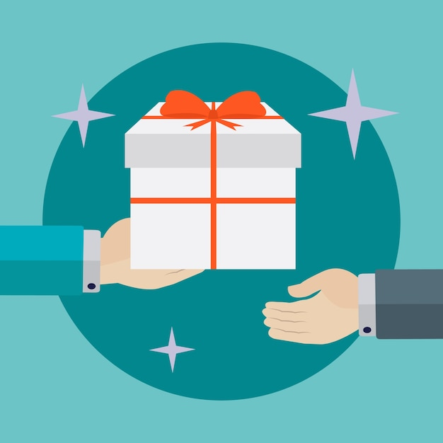 Giving a present background design Free Vector