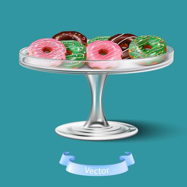 ケーキトレイにgl薬ガラスと3 dの現実的なドーナツを分離しました。 Premiumベクター