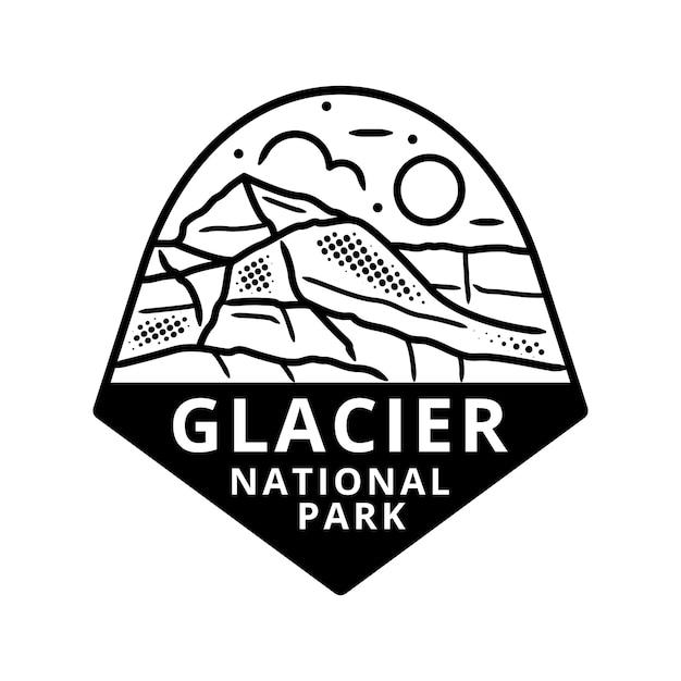 Glacier national park sticker Premium Vector