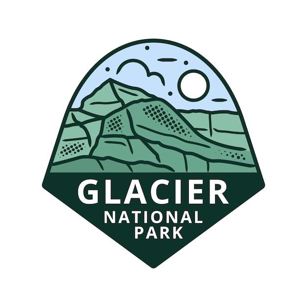 グレイシャー国立公園ステッカー Premiumベクター