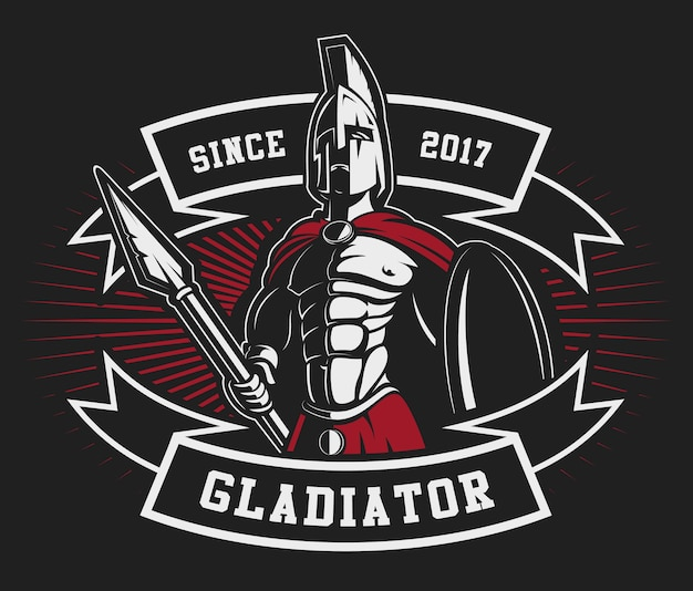 暗い背景に槍を持つ剣闘士のエンブレム。テキストは別のレイヤーにあります。 Premiumベクター