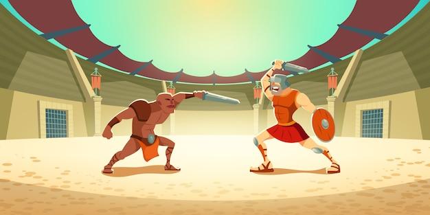 Lotta del gladiatore con barbaro sull'illustrazione dell'arena del colosseo Vettore gratuito