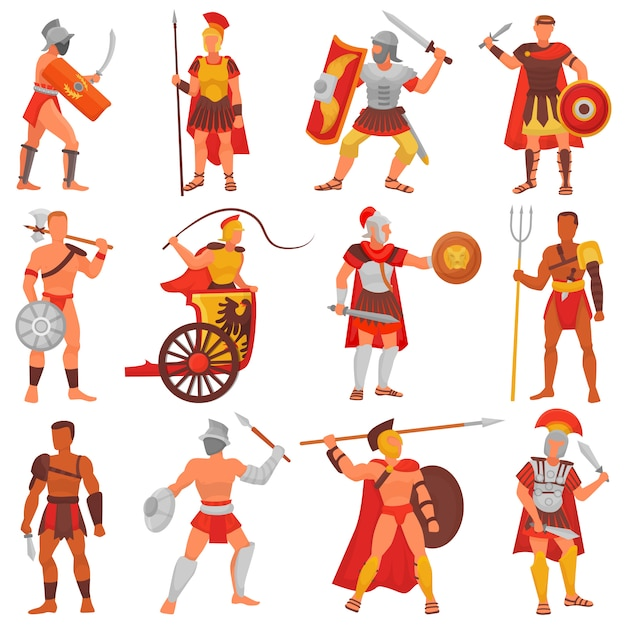 Gladiator vector roman warrior character in armor with sword or weapon and shield in ancient rome illustration set of greek man warrio fighting in war isolated Premium Vector