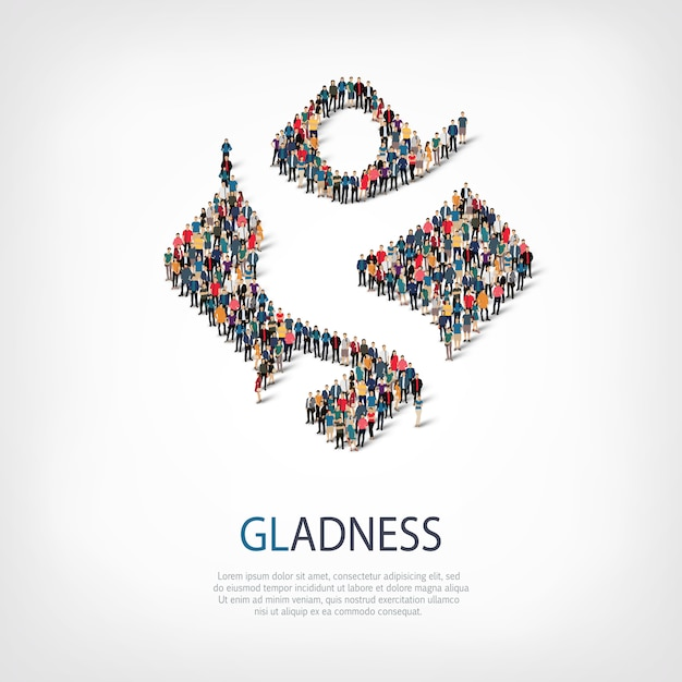 Gladness people sign 3d Premium Vector