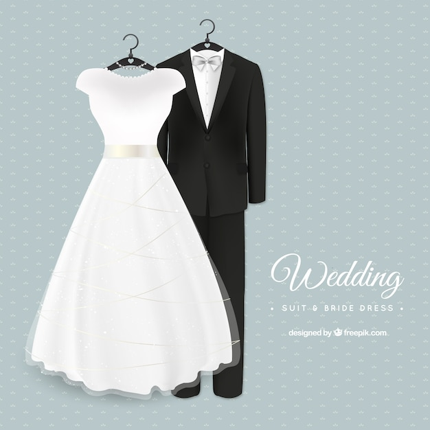 Glamorous wedding suit and bride dress Vector | Free Download
