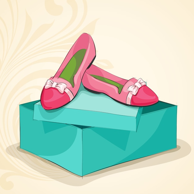 Glamour woman's pink ballet flats Free Vector