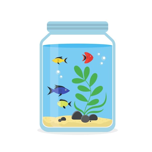 インテリアホームのためのカラフルな魚とガラスの水族館。装備ホビーフラットスタイル。 Premiumベクター