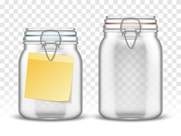 Vasetti di altalena in balla di vetro con nota di carta Vettore gratuito