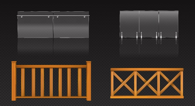 Glass balustrade with metal banister and wooden fence for balcony, terrace or pool. Free Vector