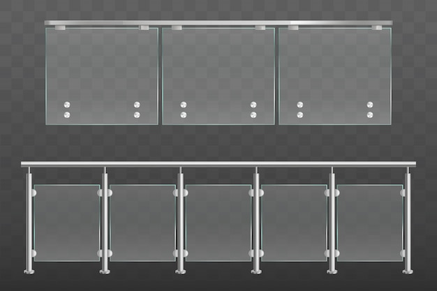Glass balustrade with metal handrails set isolated Free Vector
