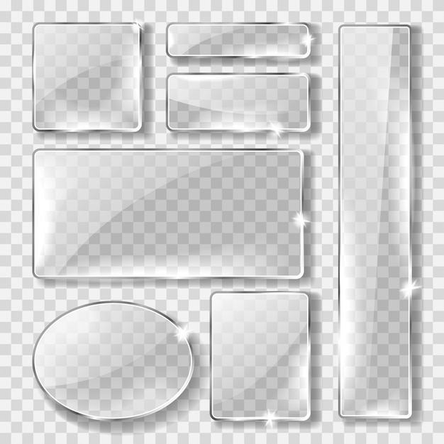 유리 배너 또는 접시, 현실적인 세트 무료 벡터