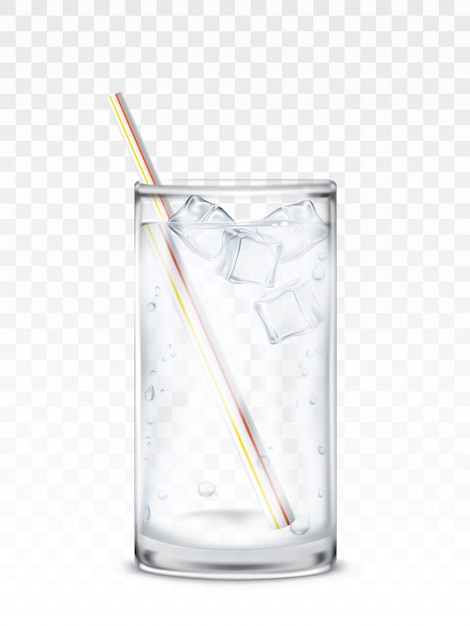 Glass beaker with water, ice cubes and a straw Free Vector