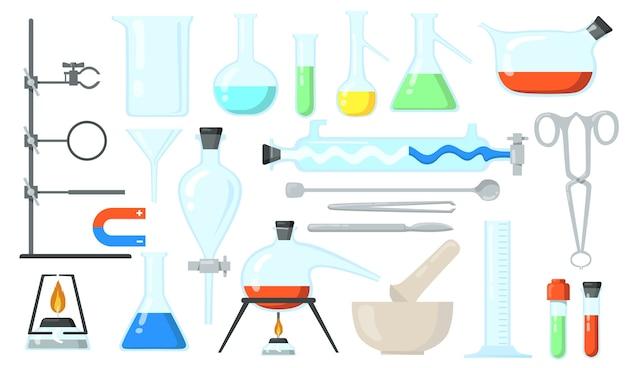 ガラスビーカーセット。実験用チューブとボトル、化学実験用のツール。化学、実験室、実験室の研究、科学の概念のためのフラットベクトルイラスト。 無料ベクター
