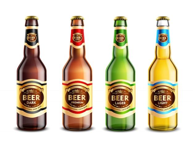 Glass beer bottles realistic set Free Vector