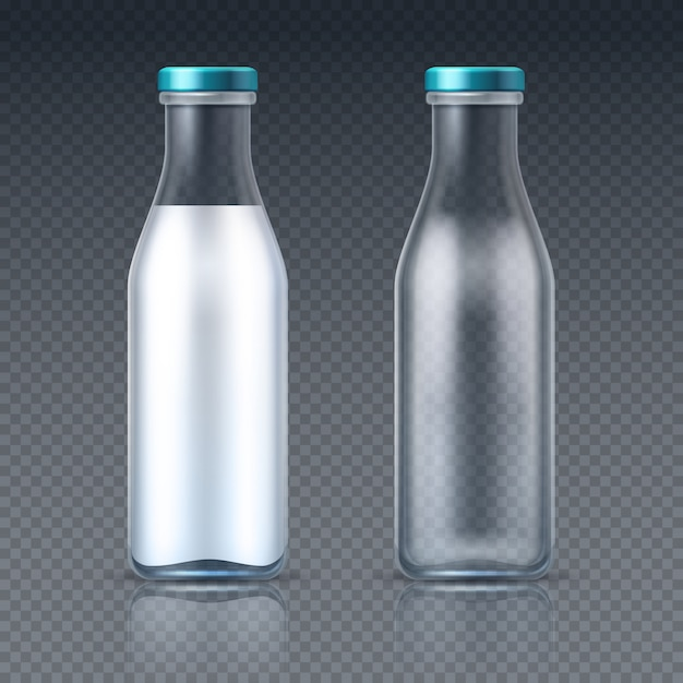 Glass beverage bottles empty and with milk. dairy product packaging isolated. illustration of bottle milk drink, healthy beverage dairy in glass Premium Vector