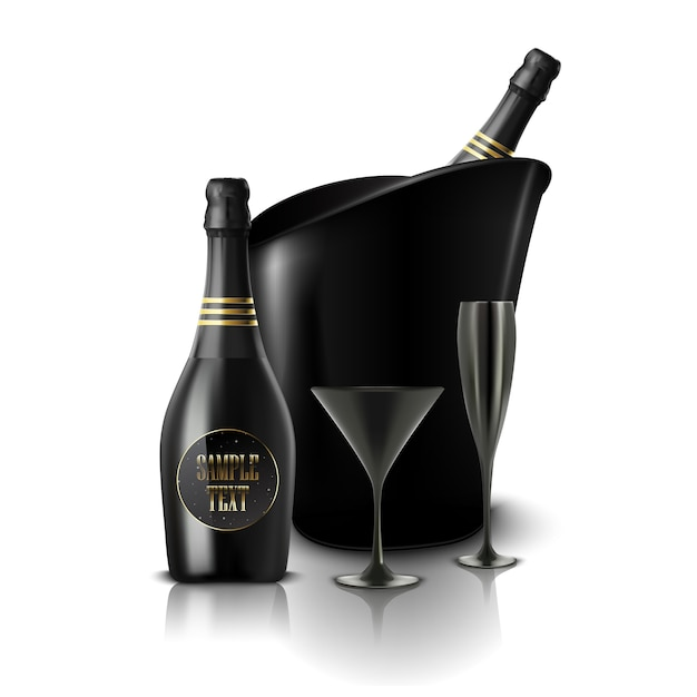 Glass of black wine and a bottle of champagne in a bucket Premium Vector