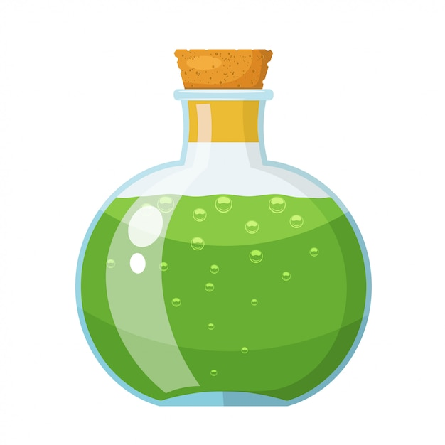 Glass bottle with cork stopper with a green liquid. the potion in a vial. cartoon style. stock vector illustration Premium Vector