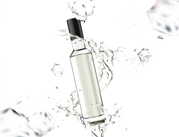 白い背景の周りに液体が渦巻くガラス瓶 Premiumベクター