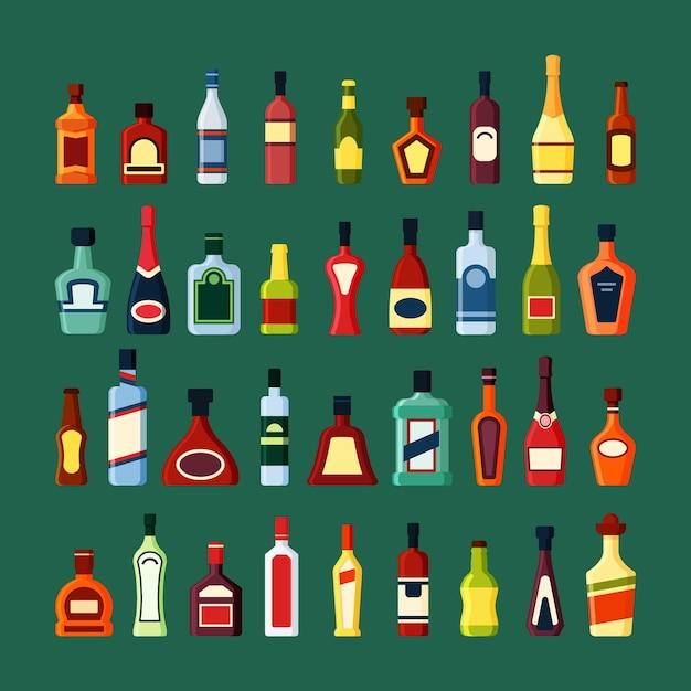 Набор алкогольных напитков из стеклянных бутылок Premium векторы