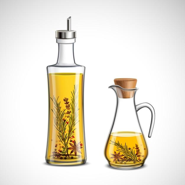 Glass bottles set Free Vector