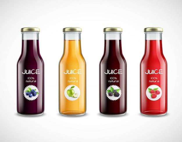 Стеклянные бутылки с коллекцией фруктовых соков Бесплатные векторы
