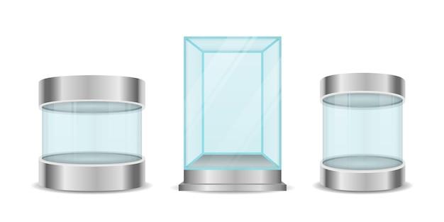 유리 상자 실린더. 투명한 크리스탈 큐브와 실린더 빈 진열장. 받침대가있는 전시를위한 둥근 빈 유리 쇼케이스. 프리미엄 벡터