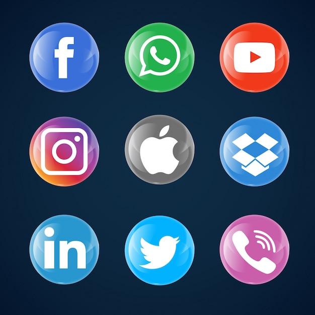 Glass bubble social media icons Free Vector
