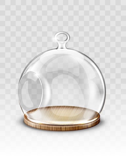 Glass christmas ball, hanging dome with hole Free Vector
