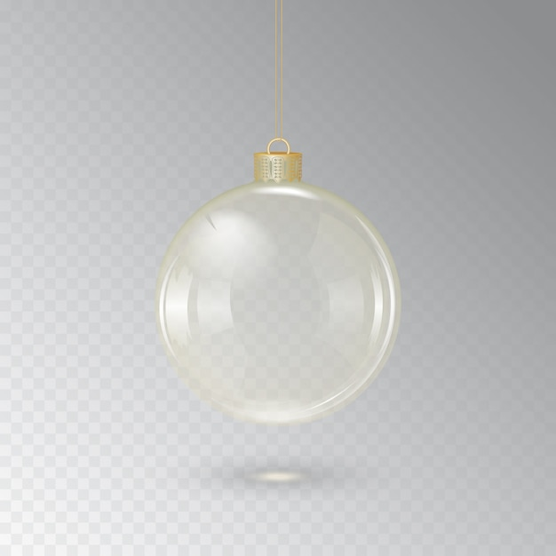 Glass christmas ball with golden cord on a transparent background.  illustration Premium Vector