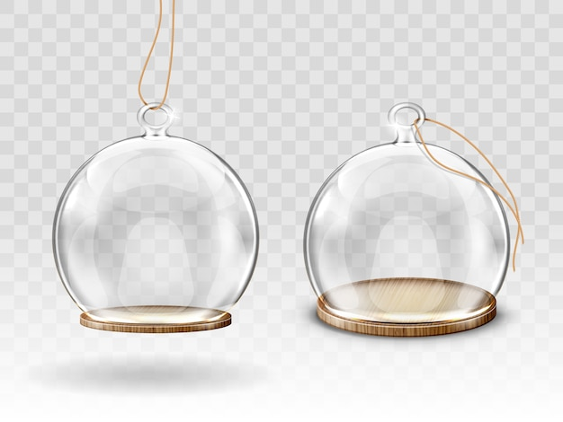 Glass christmas balls, hanging dome for decoration Free Vector