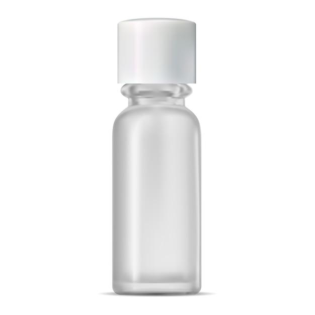 Glass cosmetic bottle. realistic transparent jar. Premium Vector