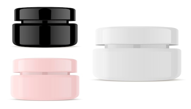 Glass cosmetic jar vector. round vector container. Premium Vector