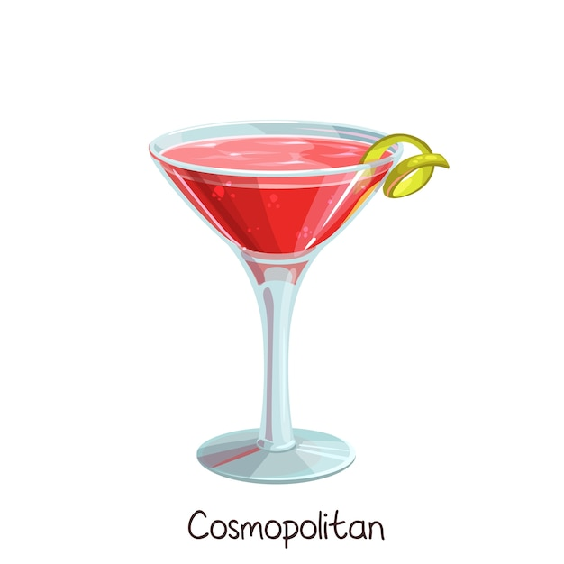 Glass of cosmopolitan cocktail with lime slice  on white. color illustration summer alcohol drink. Premium Vector