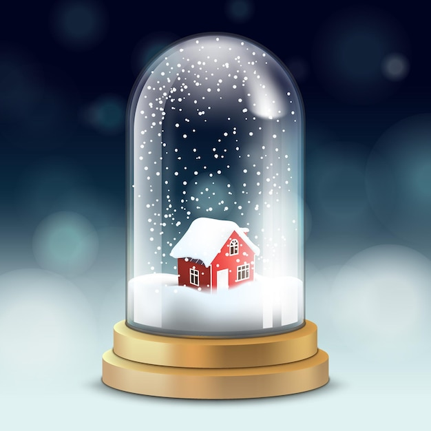Glass crystal flask, snowball with snowy house, falling snow, Premium Vector